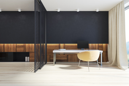 Manager s office interior with black and wooden walls, a wooden floor, and a white table with a computer on it. 3d rendering mock up Stock fotó