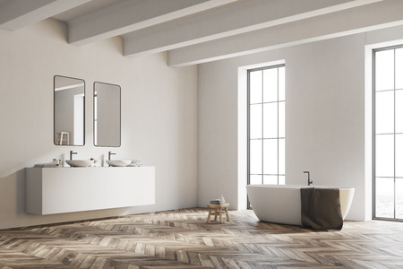 Corner of a white bathroom with a wooden floor, a white tub, and a double sink vanity unit. 3d rendering mock up Foto de archivo