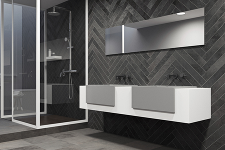 White and gray sink vanity unit with two vertical mirrors in a black wood bathroom interior with a concrete floor. A side view. 3d rendering, mock up