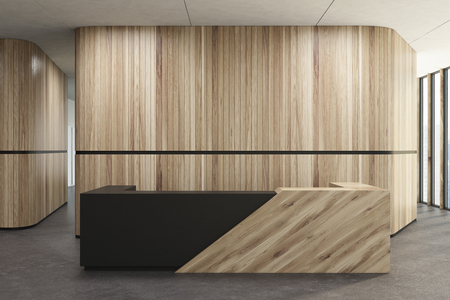 Wooden and black reception desk standing in a wooden office corridor with a concrete floor. 3d rendering mock up