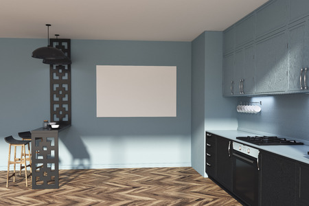 Functional gray and black kitchen interior with a wooden floor and black and gray countertops. A poster. A table with stools. 3d rendering mock up