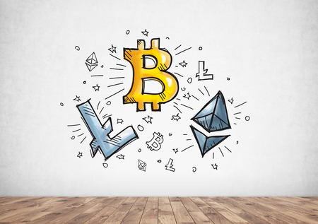 Cyptocurrency, bitcoin and blockchain icons drawn on a concrete wall of a wooden floor room. Concept of mining