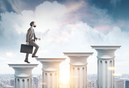 Side view of a businessman with a suitcase climbing columns stairs against a cityscape background. 3d rendering mock up