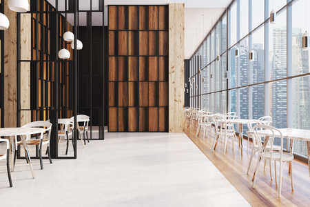 Dark wooden panoramic cafe interior in a skyscraper with a wooden floor, round tables and chairs near them. 3d rendering mock up
