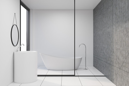 Minimalistic white bathroom interior with a tiled floor, white and glass walls and a white bathtub. A round sink. 3d rendering mock up