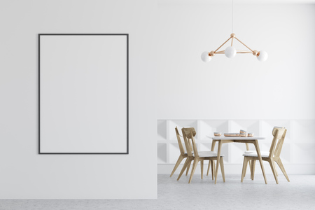 White dining room interior with a concrete floor, white and patterned walls, and a wooden and white table with chairs. A poster. 3d rendering mock up