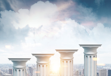 Greek columns of different heights standing against a cityscape background. Concept of financial growth. 3d rendering mock up