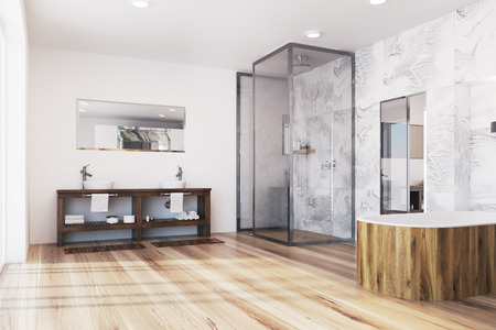 Modern gray marble bathroom corner with a wooden tub, a double sink and a tall mirror. 3d rendering mock up