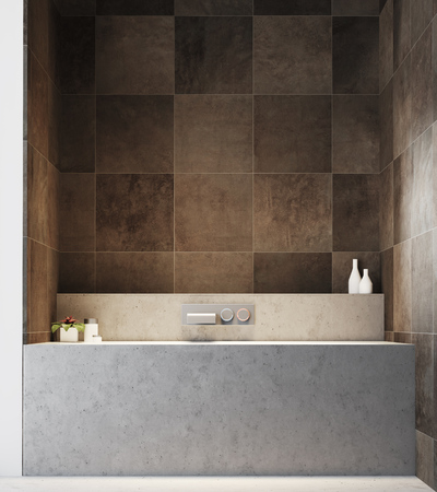 Dark tiled bathroom interior with a concrete floor, and a gray bathtub near a loft window. 3d rendering mock up