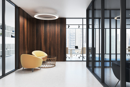 Glass and wood office lobby with a white floor, and yellow armchairs in the waiting area. 3d rendering mock up