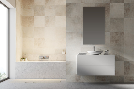 White tiled bathroom interior with a concrete floor, a bathtub, a sink on a white vanity unit and a narrow vertical mirror. 3d rendering mock up 版權商用圖片 - 96215020