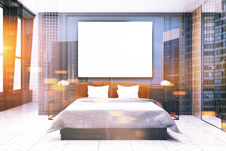 Stylish master bedroom interior with gray walls, a white bed with two bedside tables and a concrete floor. A poster. 3d rendering mock up toned image double exposure