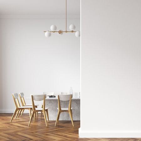 Long white dining room table with white and wooden chairs standing in a white room. A blank wall fragment. 3d rendering mock up Stok Fotoğraf - 96118449