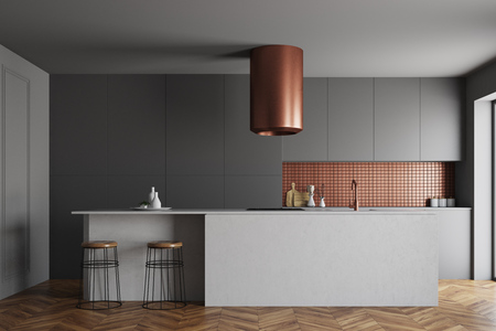 Gray and bronze wall kitchen interior with a wooden floor and dark gray countertops. 3d rendering mock up