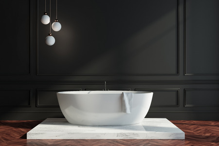 Black wall bathroom interior with a dark wooden floor, a white tub standing on white wood. 3d rendering mock up