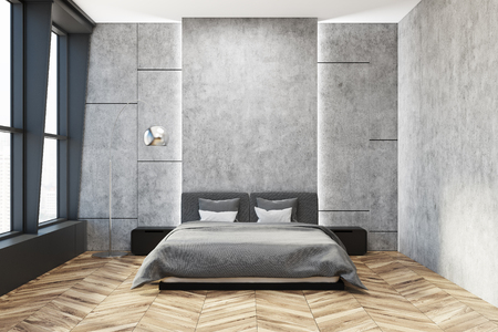 Stylish master bedroom interior with concrete walls, a gray bed with two bedside tables and a wooden floor. 3d rendering mock up 版權商用圖片