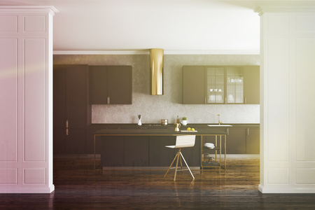 White and concrete wall kitchen interior with a wooden floor and dark purple countertops. 3d rendering mock up toned image