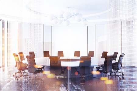 White meeting room interior with a black marble floor and a round table with black chairs. 3d rendering mock up toned image double exposure