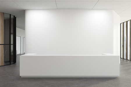 White reception desk standing in a white office corridor with a concrete floor. 3d rendering mock up