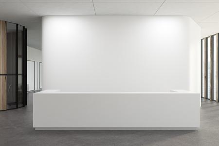 Weißer Aufnahmeschreibtisch, der in einem weißen Bürokorridor mit einem konkreten Boden steht. Spott der Wiedergabe 3d oben Standard-Bild
