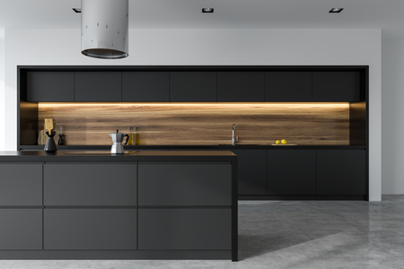 Front view of a panoramic black and wooden kitchen interior with dark gray countertops and an island. 3d rendering mock up