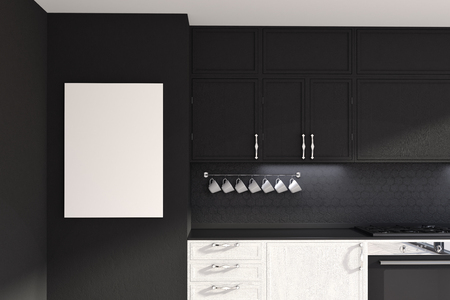 Functional white and black kitchen interior with a wooden floor and white countertops. A poster. 3d rendering mock up