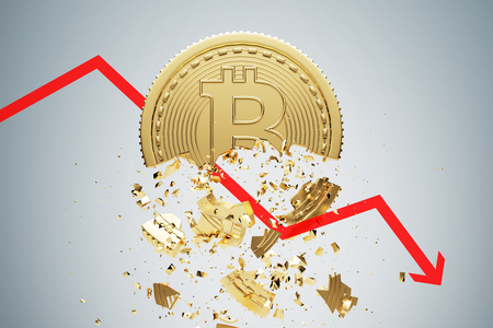 Gold bitcoin falling apart. A graph is crashing it. Concept of a cryptocurrency market crisis. A gray background. 3d rendering mock up