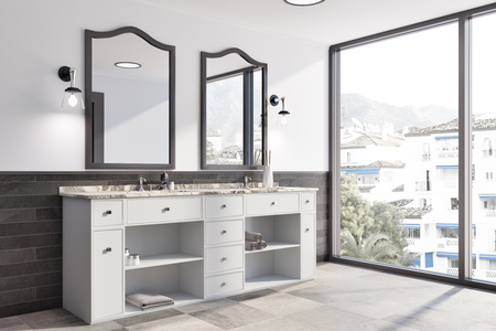 White and brick panoramic bathroom interior idea. A tiled floor, a double sink with original mirrors and a panoramic window. A side view. 3d rendering mock up