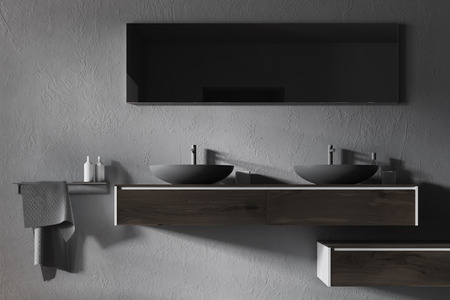 Double sink standing on a wooden shelf in a gray wall bathroom with a concrete floor. A close up 3d rendering mock up Stock Photo