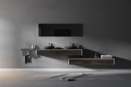 Double sink standing on a wooden shelf in a gray wall bathroom with a concrete floor. 3d rendering mock up
