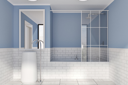 Blue and white brick bathroom interior idea. A tiled wooden floor, a round sink with a vertical mirror and a bathtub. A front view. 3d rendering mock up