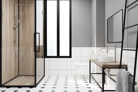 Modern gray bathroom decoration idea. A white and black tiled floor, a narrow window, a wooden shower stall, a double sink and a ladder. 3d rendering