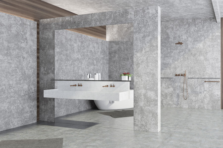 Concrete panoramic bathroom interior idea. Concrete walls and floor, large window and a double sink. A corner view 3d rendering mock up