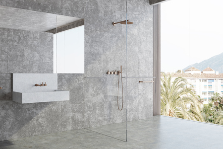 Concrete panoramic bathroom interior idea. Concrete walls and floor, large window and a white sink. A side view. 3d rendering mock up