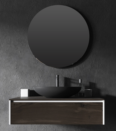 Close up of a black bathroom sink with a round mirror hanging above it. Concept of health and wellbeing. 3d rendering
