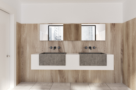 Double sink standing on a white and gray shelf in a wooden wall bathroom with a wooden floor. 3d rendering mock up