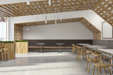 White and wooden walls eco bar interior with loft windows and wooden tables and chairs. Flower beds. A side view. 3d rendering mock up
