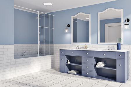 Blue and white brick bathroom interior idea. A tiled wooden floor, a double sink with original mirrors and a bathtub. A side view. 3d rendering mock up