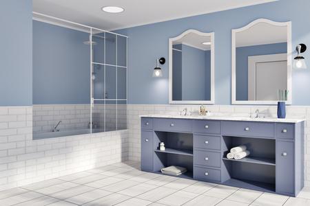 Idea interna del bagno del mattone blu e bianco. Un pavimento in legno piastrellato, un doppio lavandino con specchi originali e una vasca da bagno. Una vista laterale Rendering 3D mock up Archivio Fotografico - 97221138