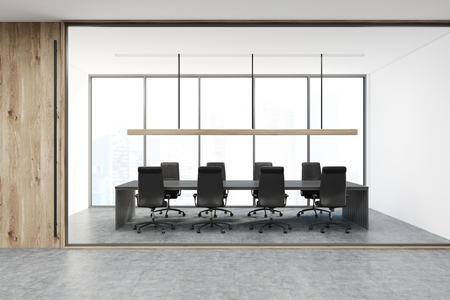 White and wooden conference room interior with a long table, black office chairs and a panoramic window. 3d rendering mock up