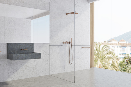 White panoramic bathroom interior idea. White concrete walls and a tiled floor, large window and a dark gray sink. A side view. 3d rendering mock up