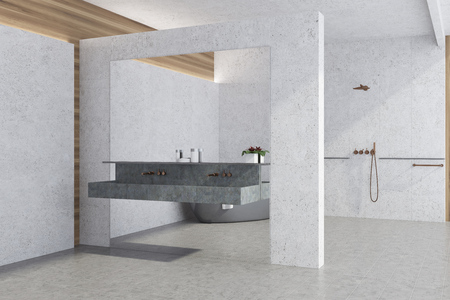 White panoramic bathroom interior idea. White concrete walls and a tiled floor, large window and a double sink. A corner view. 3d rendering mock up Stock Photo