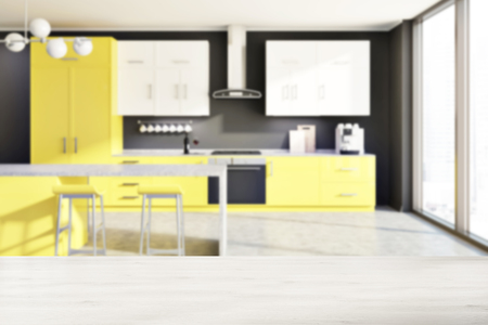 Modern Kitchen Interior With Yellow And White Counters, A Table ...
