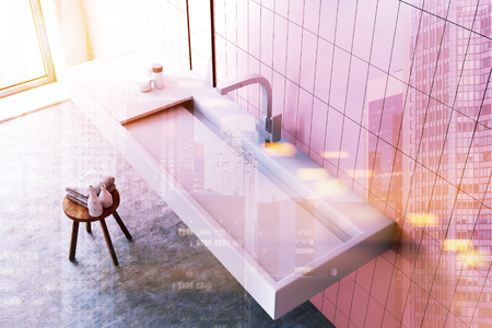 Modern sink in a pink tiled bathroom interior with a narrow vertical mirror and toiletry. A top view. 3d rendering mock up toned image double exposure Stock Photo