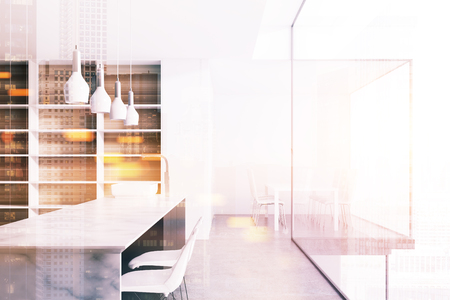White countertops in a white kitchen with a concrete floor, wooden shelves and a sink. A close up 3d rendering mock up toned image double exposure
