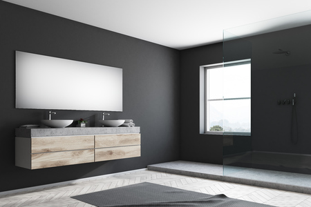 Double sink and a shower stall in a black wall bathroom with a wooden floor and a carpet. 3d rendering mock up