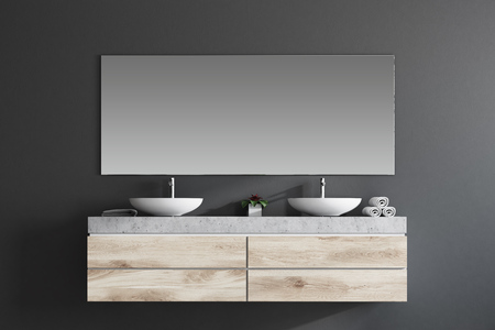 Modern double sink in a gray wall bathroom interior with a large horizontal mirror and towels. 3d rendering mock up Фото со стока