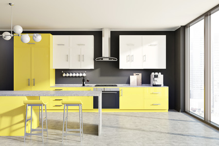 Modern Kitchen With A Bar, Three Stools And A Black Fridge Near ...