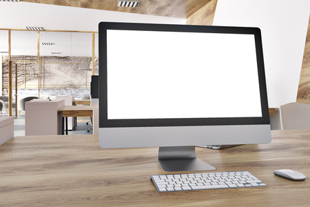 Mock Up Computer Screen On A Wooden Office Desk In A Marble Open Space  Office Environment