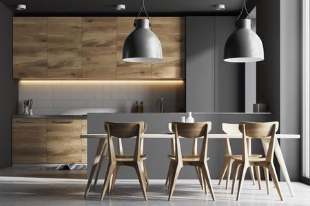 Intérieur de cuisine moderne avec des murs en briques grises et blanches, un sol en béton et des comptoirs en bois et gris. Une longue table avec des chaises près d'elle. Maquette de rendu 3D